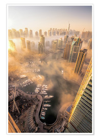 Poster Premium Dubai Marina covered in early morning fog