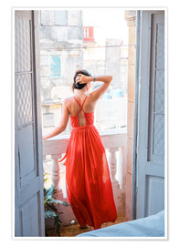 Poster Premium  Young attractive woman in red dress