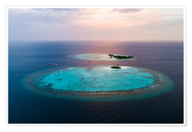 Poster Premium  Islands at sunset in the Maldives - Matteo Colombo