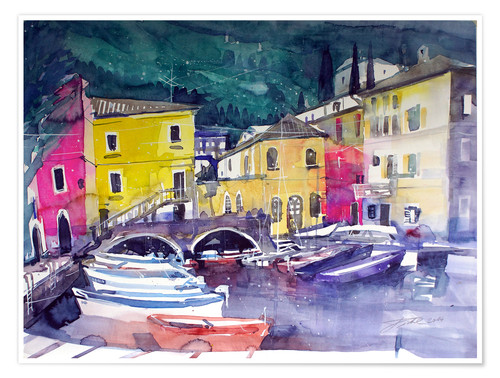 Poster Premium Lake Garda, harbor in Cassone