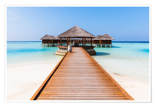 Poster Premium Jetty and overwater bungalows, Maldives