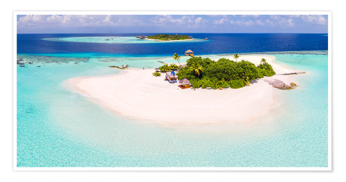 Poster Premium Aerial view of island in the Maldives