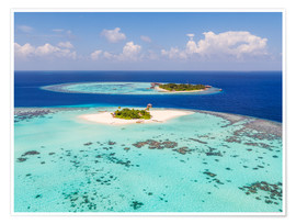 Poster Premium Aerial view of islands in the Maldives