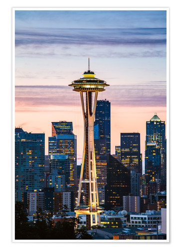 Poster Premium Space Needle at sunrise, Seattle