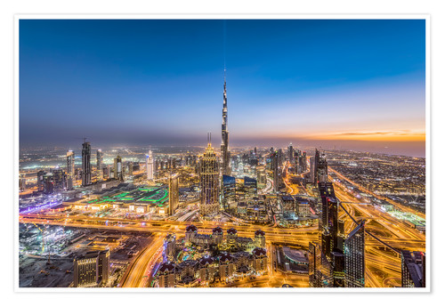 Poster Premium Dubai City Sunset