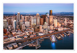 Poster Premium Aerial view of Seattle skyline, USA