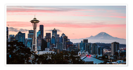 Poster Premium Seattle panoramic with Mount Rainier, USA