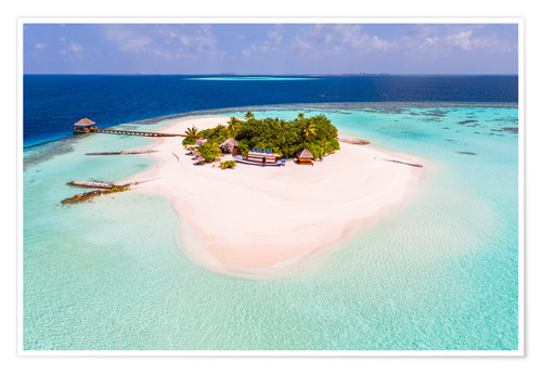 Poster Premium Drone view of paradise island, Maldives