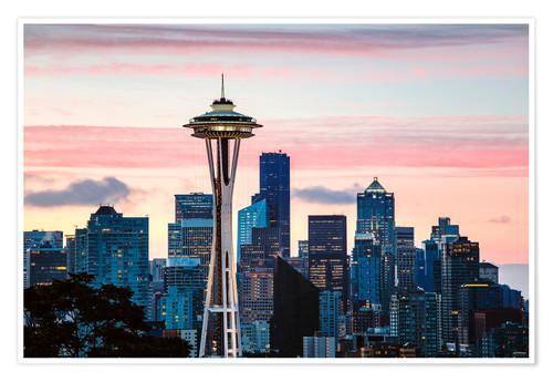 Poster Premium Space Needle and Seattle skyline, USA