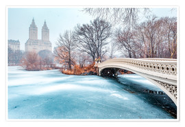 Poster Premium Central Park Winter, Bow Bridge