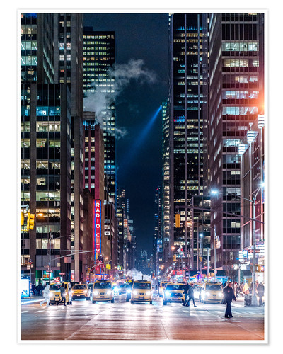 Poster Premium New York Sixth Avenue at Night