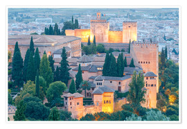 Poster Premium Alhambra fortress at sunset