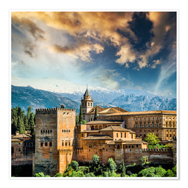 Poster Premium View of the famous Alhambra