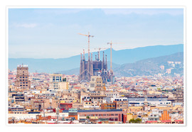 Poster Premium Barcelona with the Cathedral of Gaudí