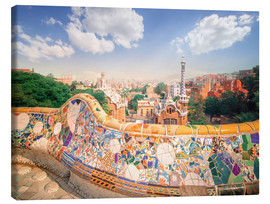 Stampa su tela  The Park Guell in Barcelona