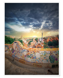 Poster Premium  The famous park Guell in Barcelona