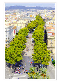 Poster Premium  Barcelona and Las Ramblas with the Columbus Column