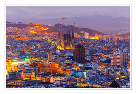 Poster  Aerial view Barcelona