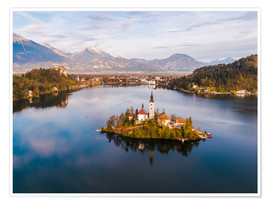 Poster Premium Lake Bled and island in autumn, Slovenia