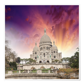 Poster Premium Sacred Heart Cathedral in Montmartre