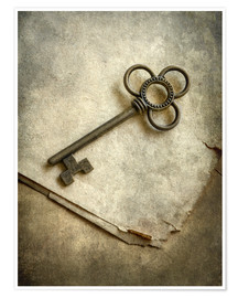 Poster Premium Still life with old ornamented key