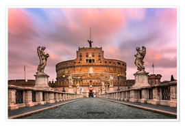Poster Premium  Ponte Sant'Angelo and Castel Sant'Angelo