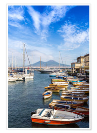 Poster Premium Port of Naples and Mount Vesuvius