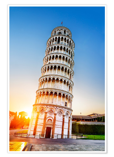 Poster Premium The leaning tower at dusk