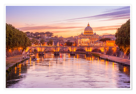Poster Premium Skyline of Rome in a magenta dawn