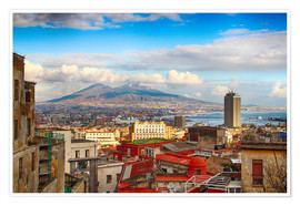 Poster Premium  Naples and Mount Vesuvius