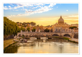 Poster Premium Saint Peter Basilica with Sant'Angelo Bridge