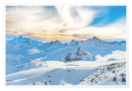 Poster Premium Mountains with snow peaks