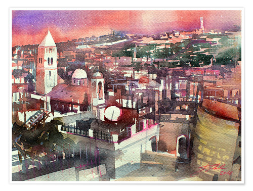 Poster Premium Jerusalem, Old Town with Church of the Redeemer