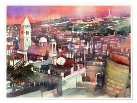 Poster Premium  Jerusalem, Old Town with Church of the Redeemer - Johann Pickl