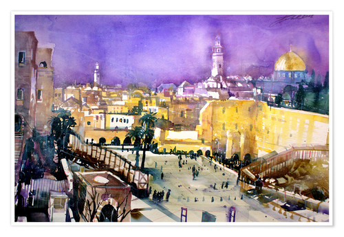 Poster Premium Jerusalem, Dome of the Rock with Wailing Wall