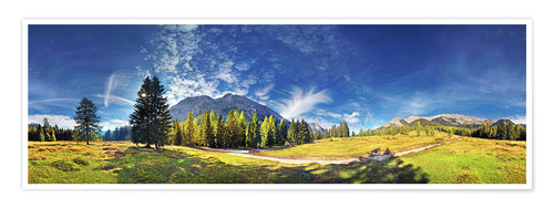 Poster Premium 360 ° mountain panorama in the Wettersteingebirge south face with Mieminger chain