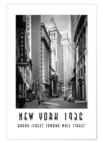 Poster Premium Storica New York Broad Street a Wall Street