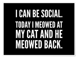 Poster Premium I Can Be Social Today I Meowed At My Cat And He Meowed Back