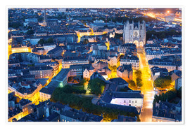 Poster Premium Aerial view of Nantes at a summer night