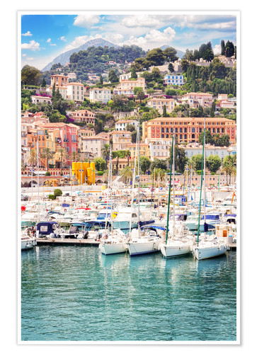 Poster Premium colorful houses and yachts in Menton
