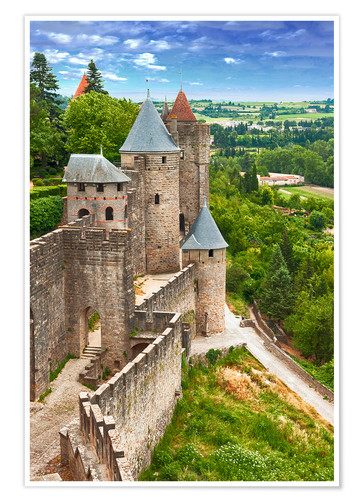 Poster Premium Fortress Carcassonne in France, Languedoc