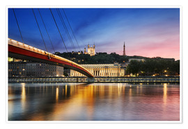 Poster Premium View of Saone river at sunset,Lyon, France