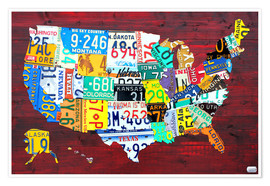 Poster Premium License Plate Map of the USA