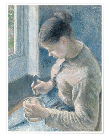 Poster Premium Young Peasant Woman Drinking Her Cafe au Lait