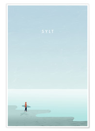 Poster Sylt surfer illustration