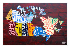 Poster Premium License Plate Map of Canada
