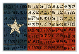 Poster Premium Flag of Texas License Plate Art