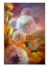 Poster Premium Dandelion and butterfly