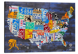Alluminio Dibond  License Plate Map of the United States on Blue Wood Planks - Design Turnpike