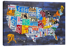 Stampa su tela  License Plate Map of the United States on Blue Wood Planks - Design Turnpike